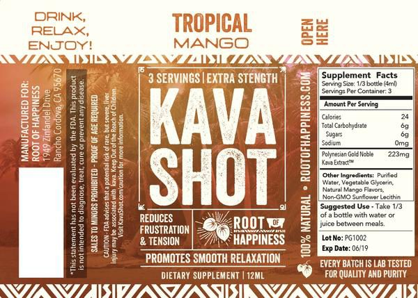Root of Happiness Tropical Mango Kava Shot